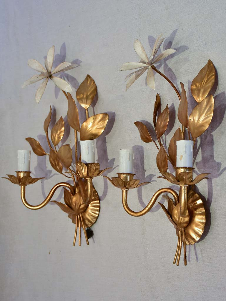 Pair of 1970's / 80's wall appliques with gold foliage and beige leaves 15¾""