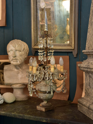 Antique French table lamp with carved base - girandole