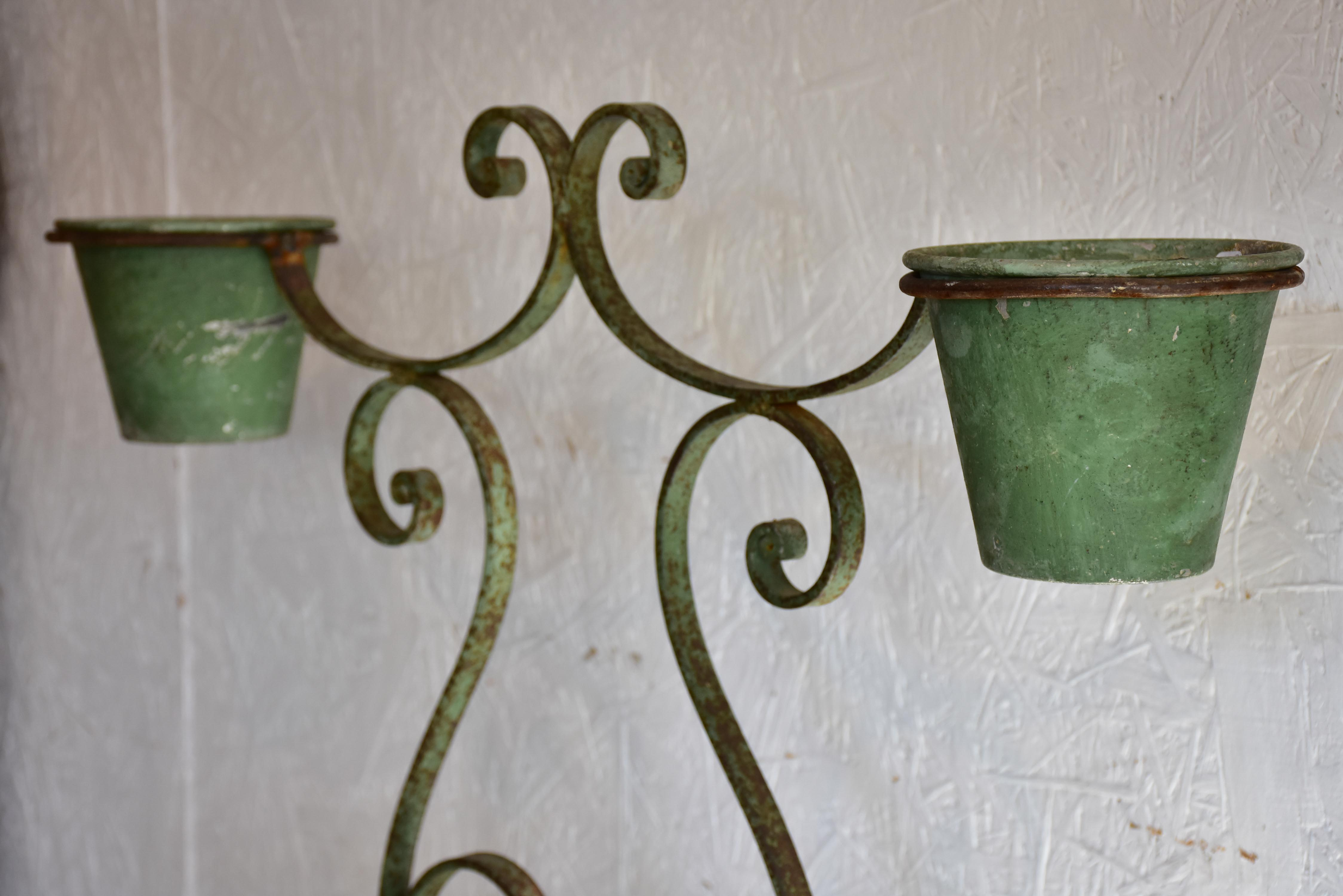 Vintage French two-pot plant stand