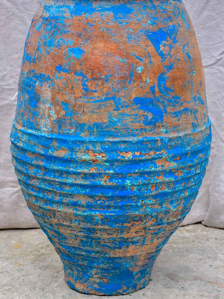 Very large antique Spanish olive oil jar with blue patina 35¾""