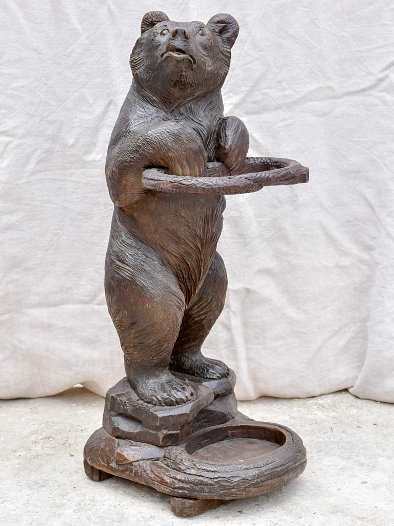 19th Century black forest bear umbrella stand - carved wood