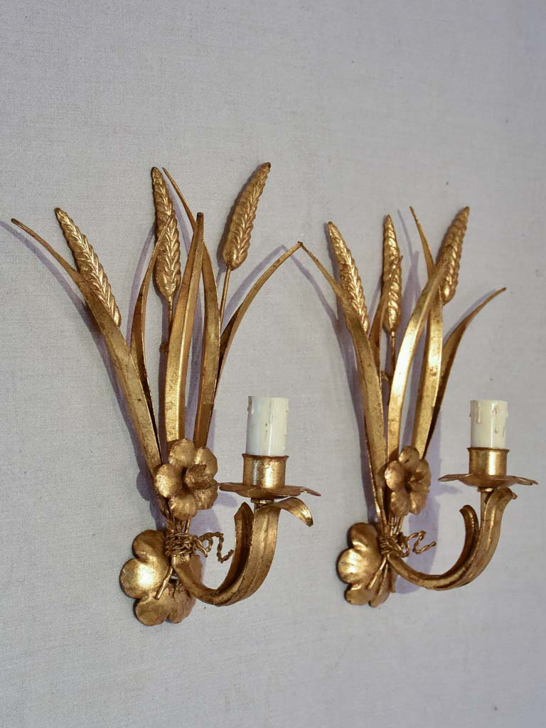 Pair of 1970's / 80's wall appliques with gold wheat and flowers 13""