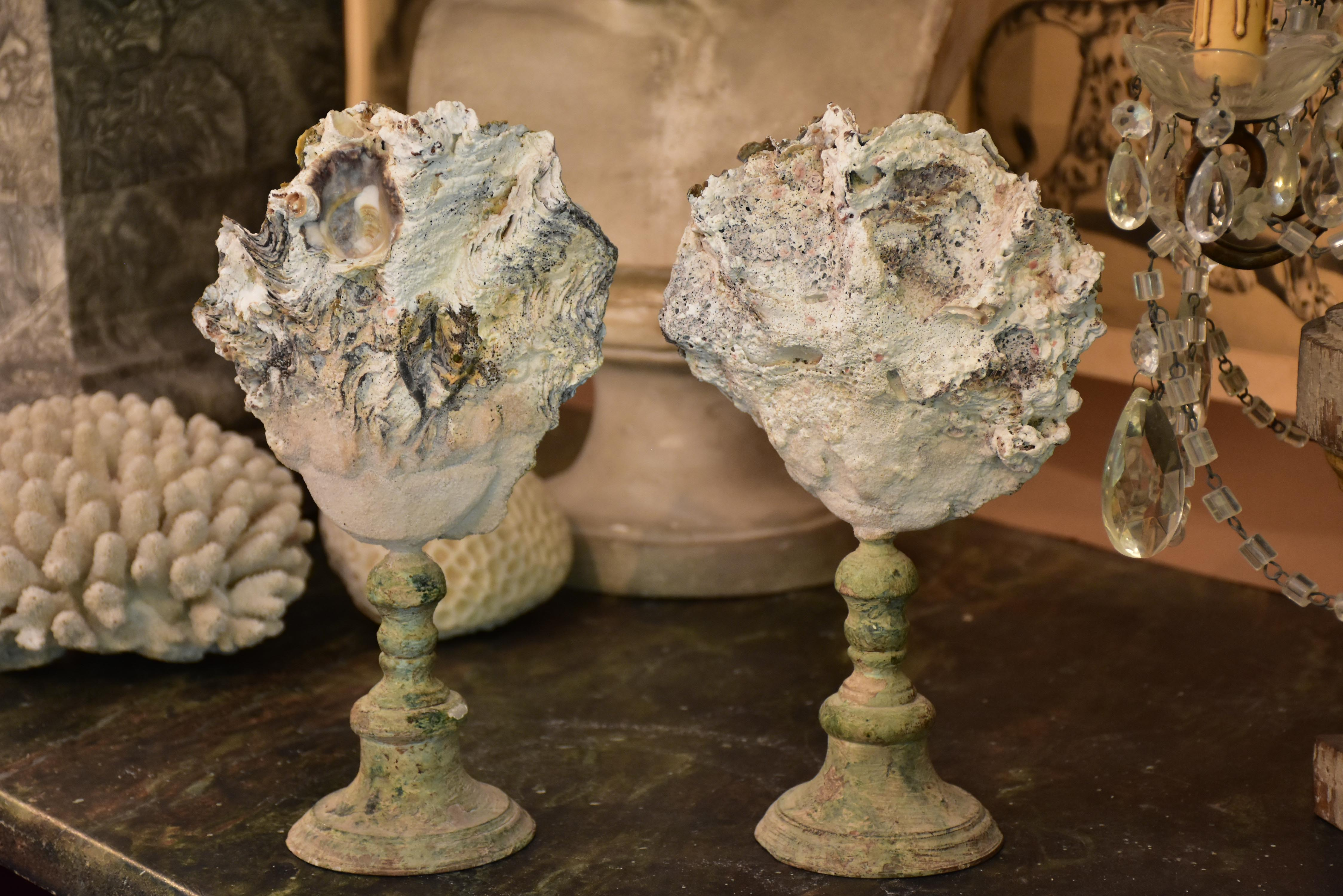 Pair of Napoleon III mounted shells with white barnacles