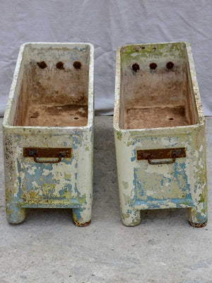 Pair of rectangular mid-century Willy Guhl garden planters on feet