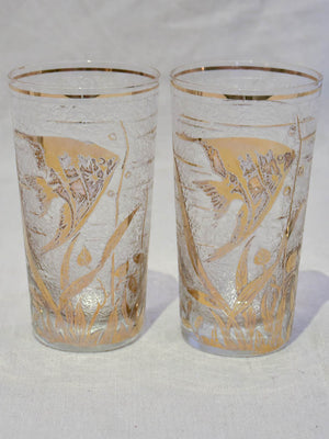 Set of six 1970's glass tumblers decorated with gold fish