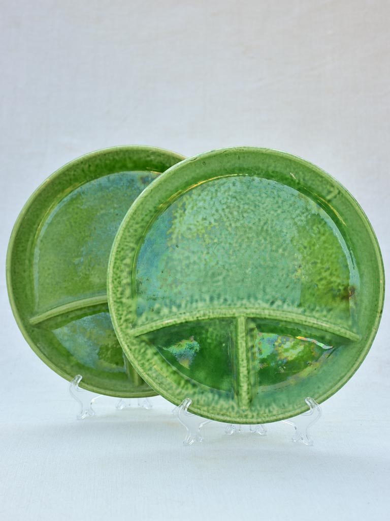 Pair of green-glazed Dieulefit aperitif plates 11""