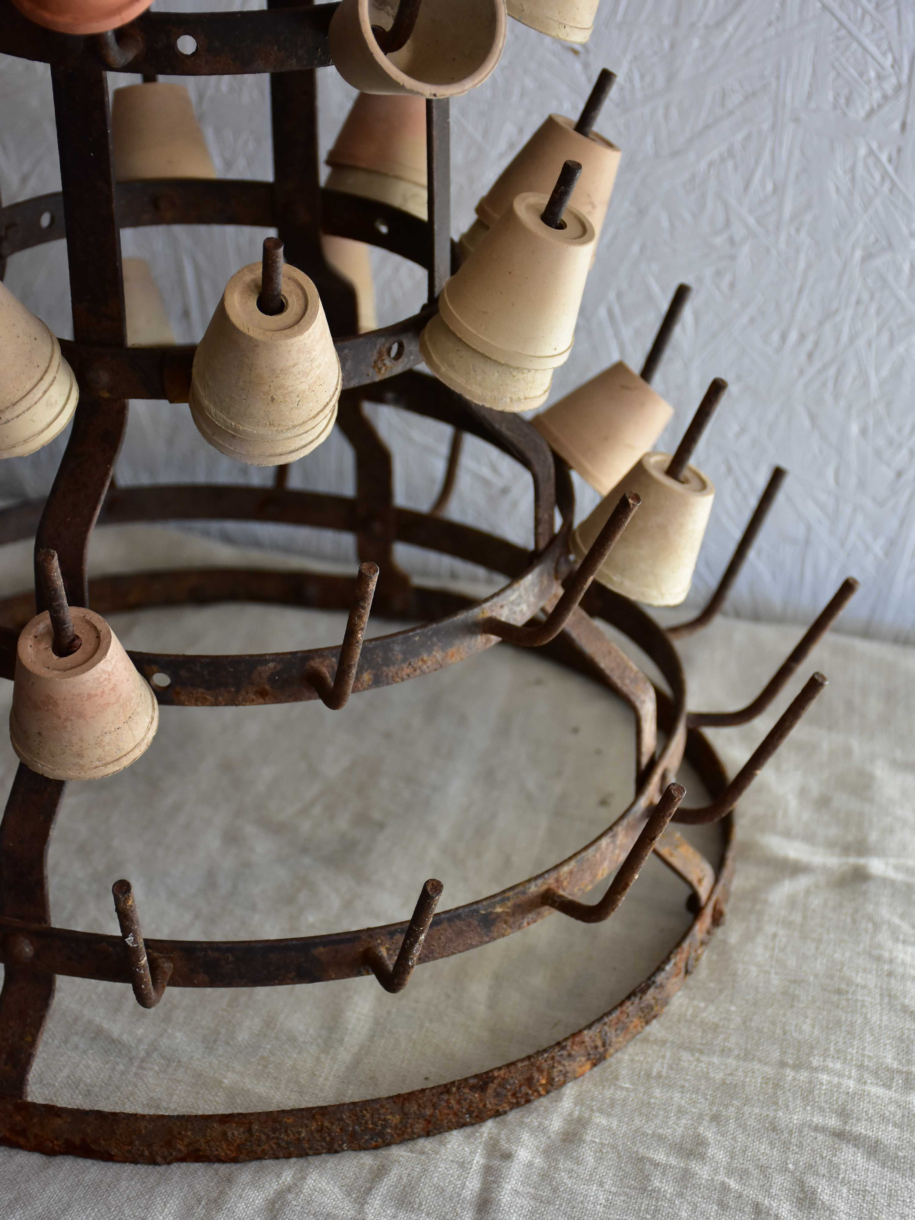 Vintage French bottle drying stand