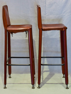 Pair of 1970's French leather barstools