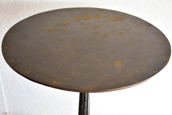 19th Century French bistro table with cast iron base