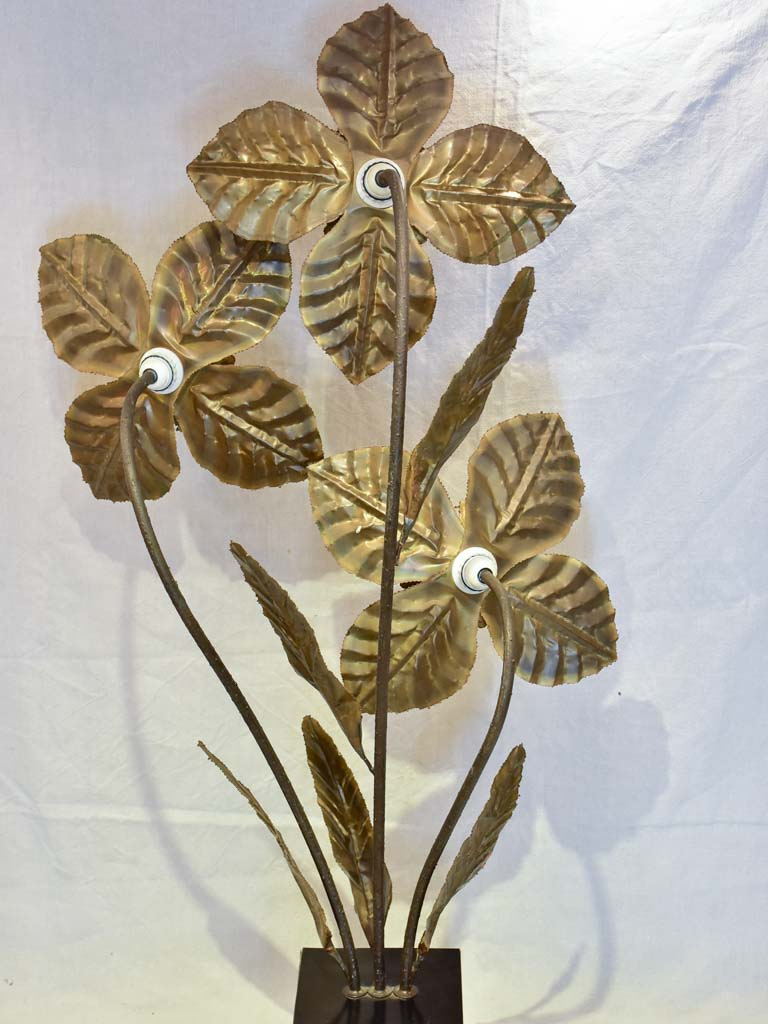 Very large vintage lamp with three large brass flowers 52¼""