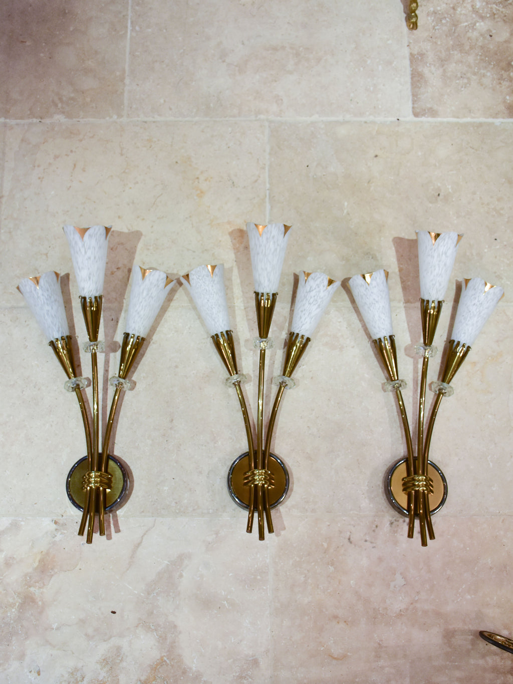 Three mid century French wall sconces