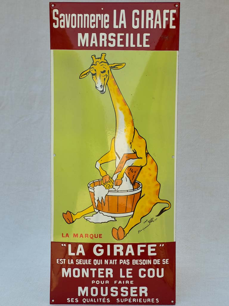 "Enamel sign advertising soap - La Girafe Marseille 25½"" x 11"""
