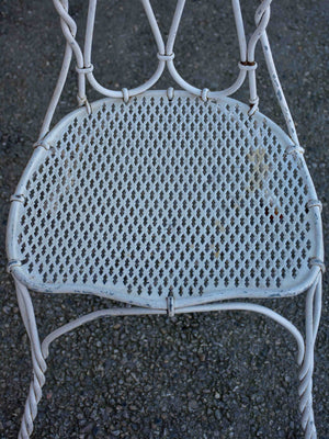 Pair of antique French garden chairs - white