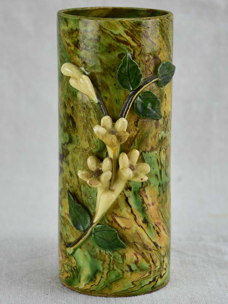 Small antique French Pichon vase with orange blossom from Uzes 6¼""