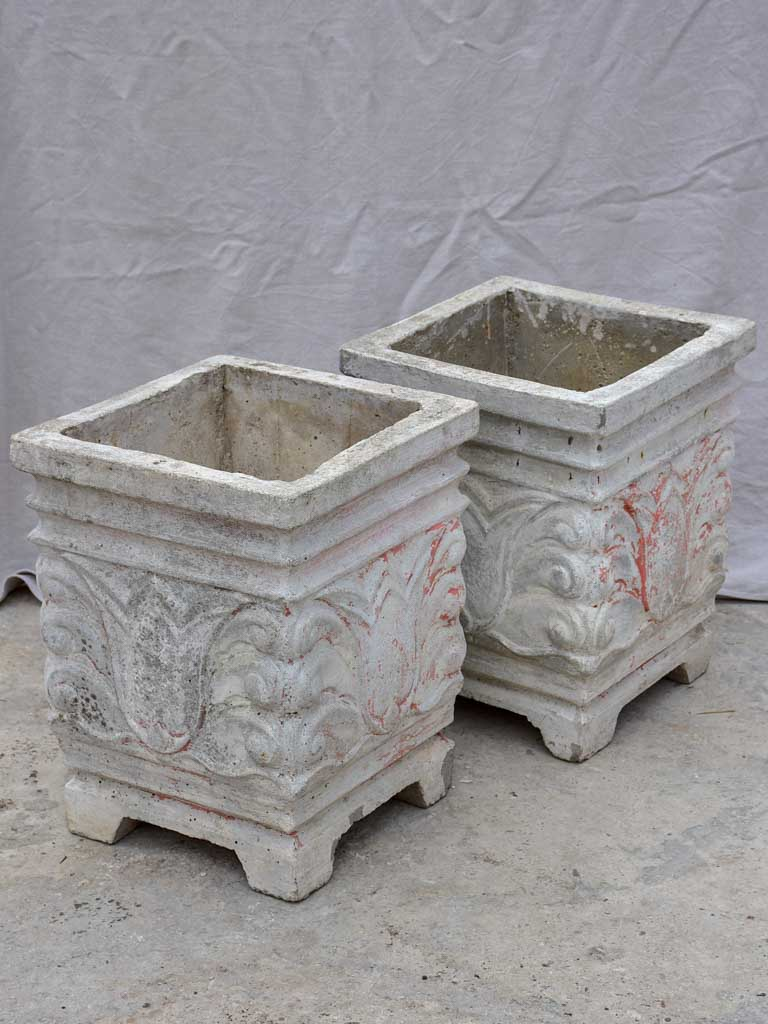Pair of square concrete planters with white, grey and red patina 21¼""