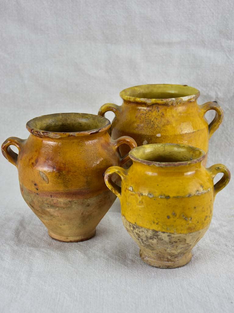 Collection of three nineteenth century French confit pots