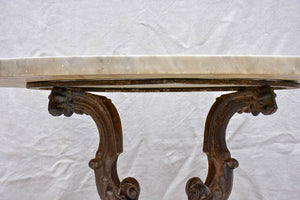 19th Century Italian marble top garden table with cast iron base