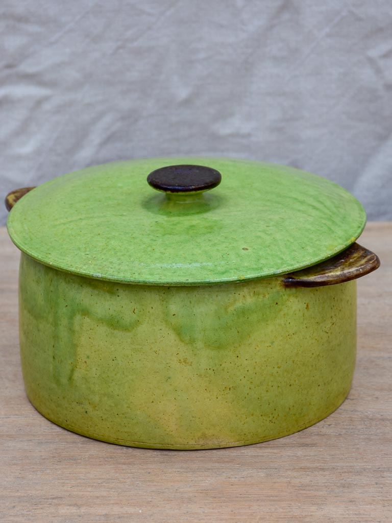 Antique French soup tureen from Dieulefit - green with burnt handles