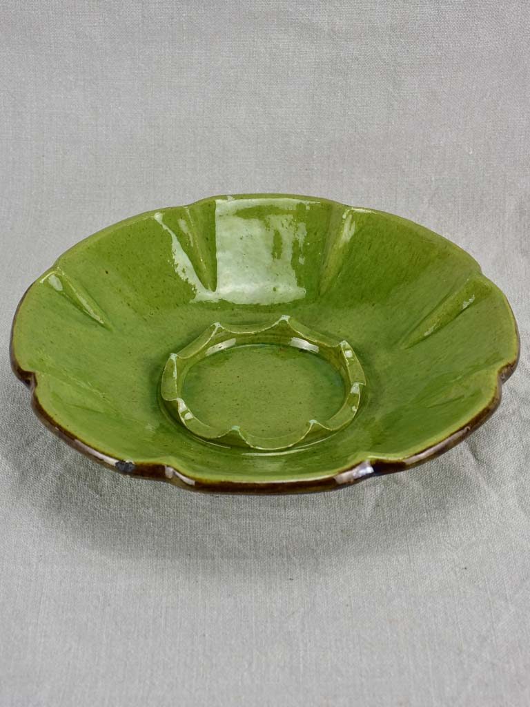 Vintage French melon bowl with green glaze 11¾""