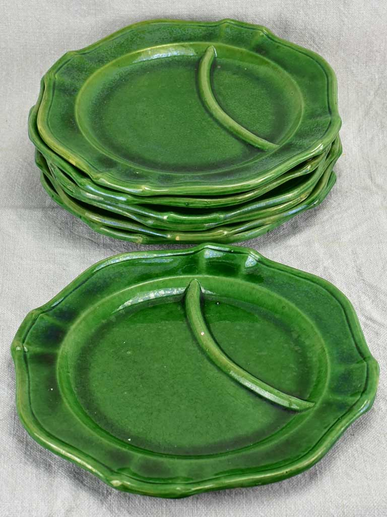 Set of seven 1950's asparagus serving plates - Pichon, Uzes