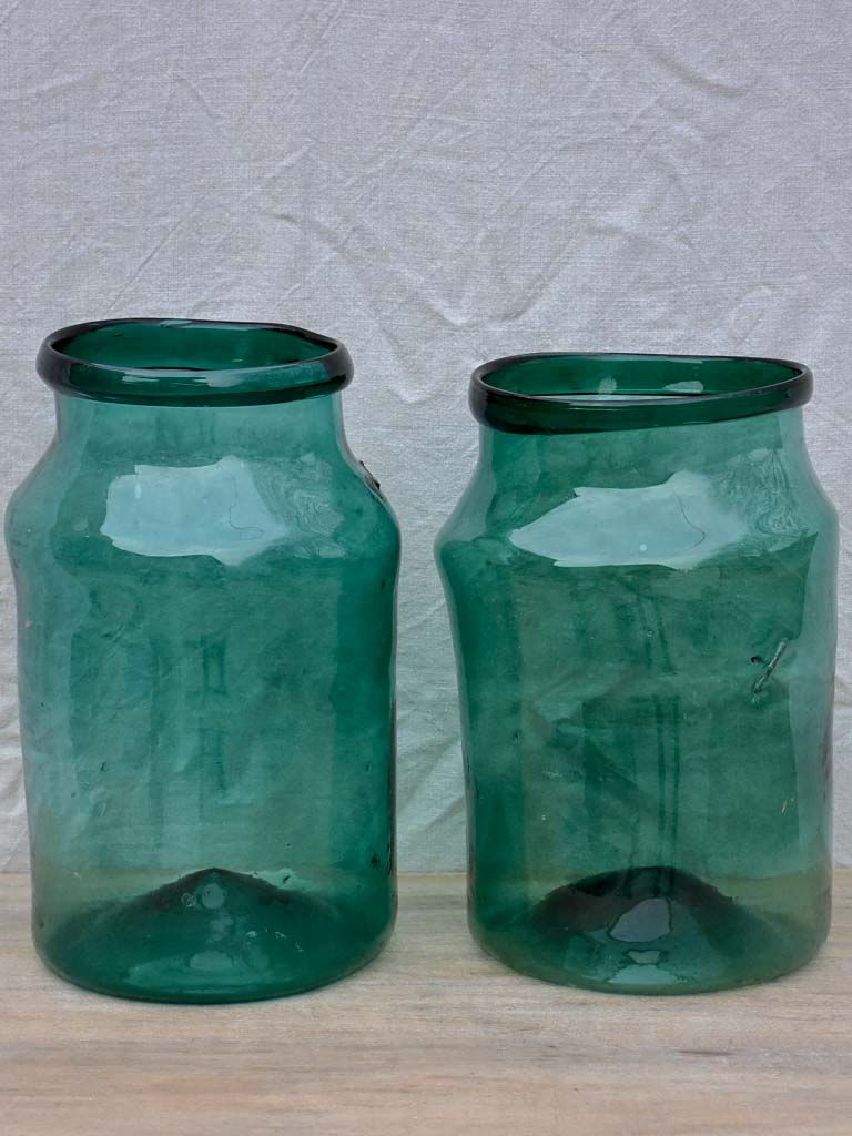 Pair of very large antique French preserving jars - blue green