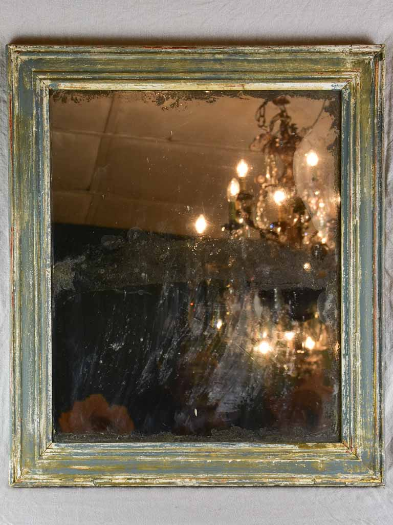 "19th Century French mirror with timeworn glass and patinated timber frame 23¾"" x 27½"""