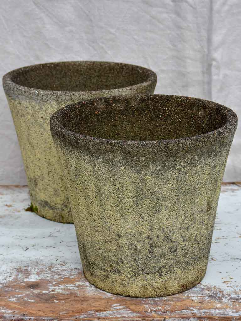 Pair of mid-century fluted reconstitued stone garden planters