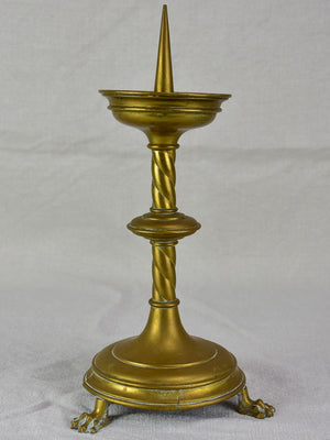 Antique candlestick with claw feet 12½""