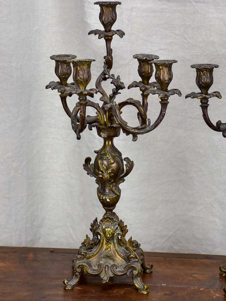 Pair of antique French bronze candlesticks