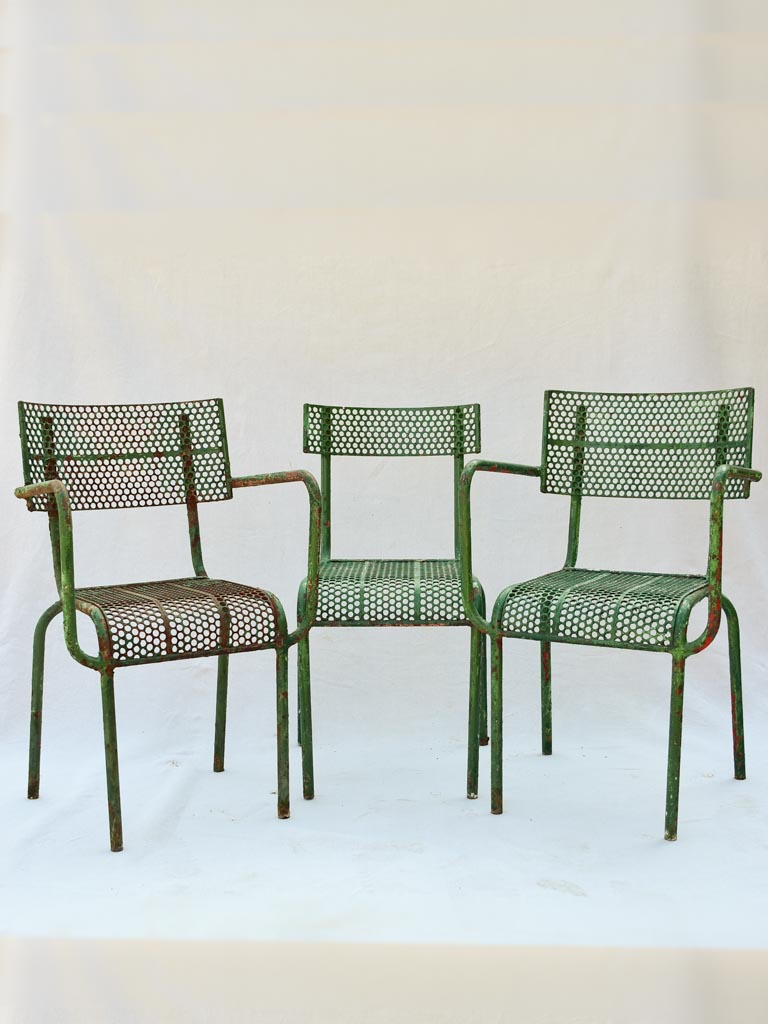 Three perforated garden chairs from the 1970's René Malaval
