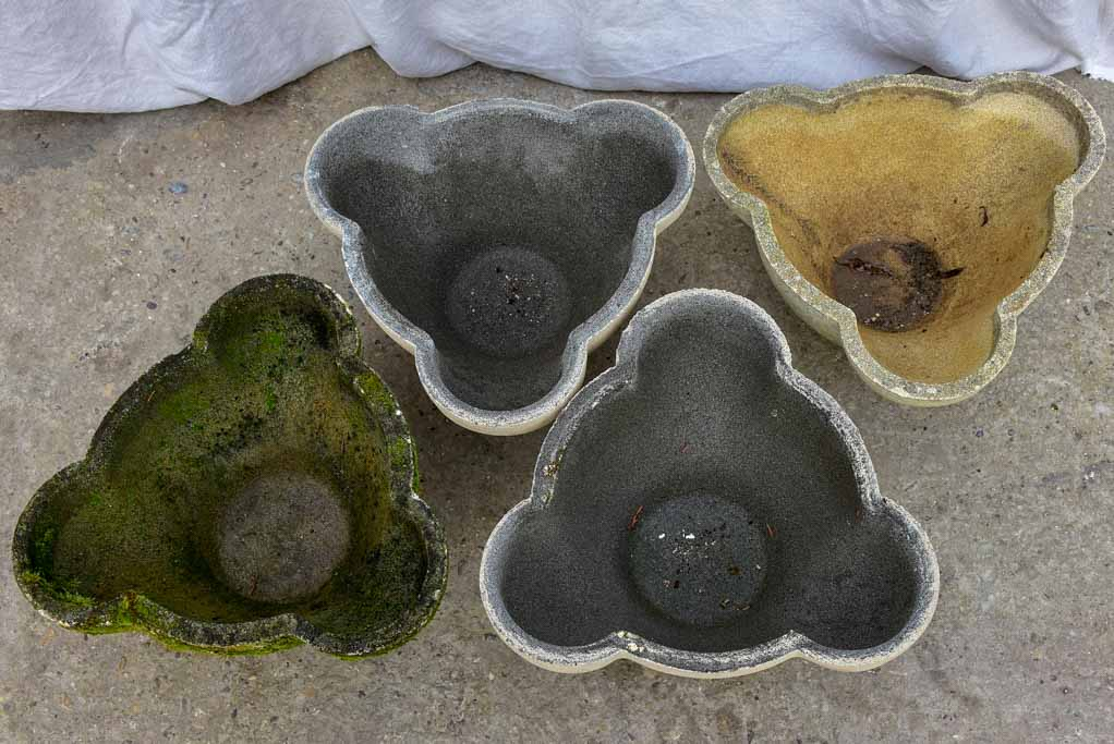 Collection of three 'Mickey's ears' mid-century garden planters
