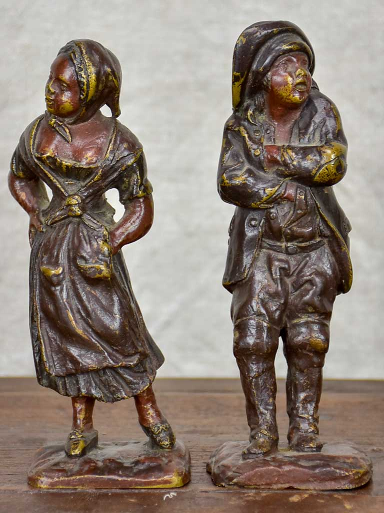 Pair of antique French bronze scuptures