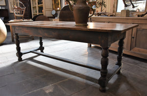 Antique French farm table with black legs