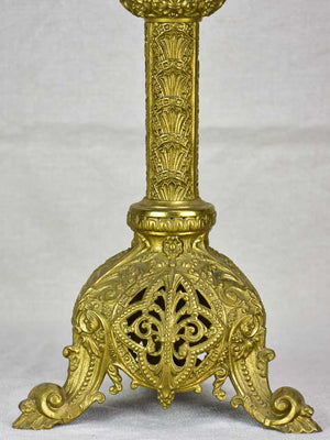 Large antique French candlestick - bronze, gold patina 22¾""