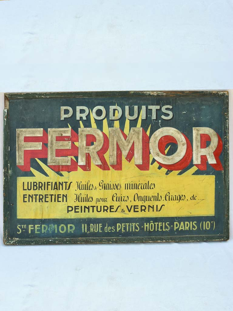 "Large hand-painted wooden sign - 1930's - Produit Fermor 58¾"" x 39¾"""
