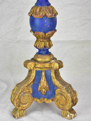 Rare large antique French candlestick - blue and gold 24""