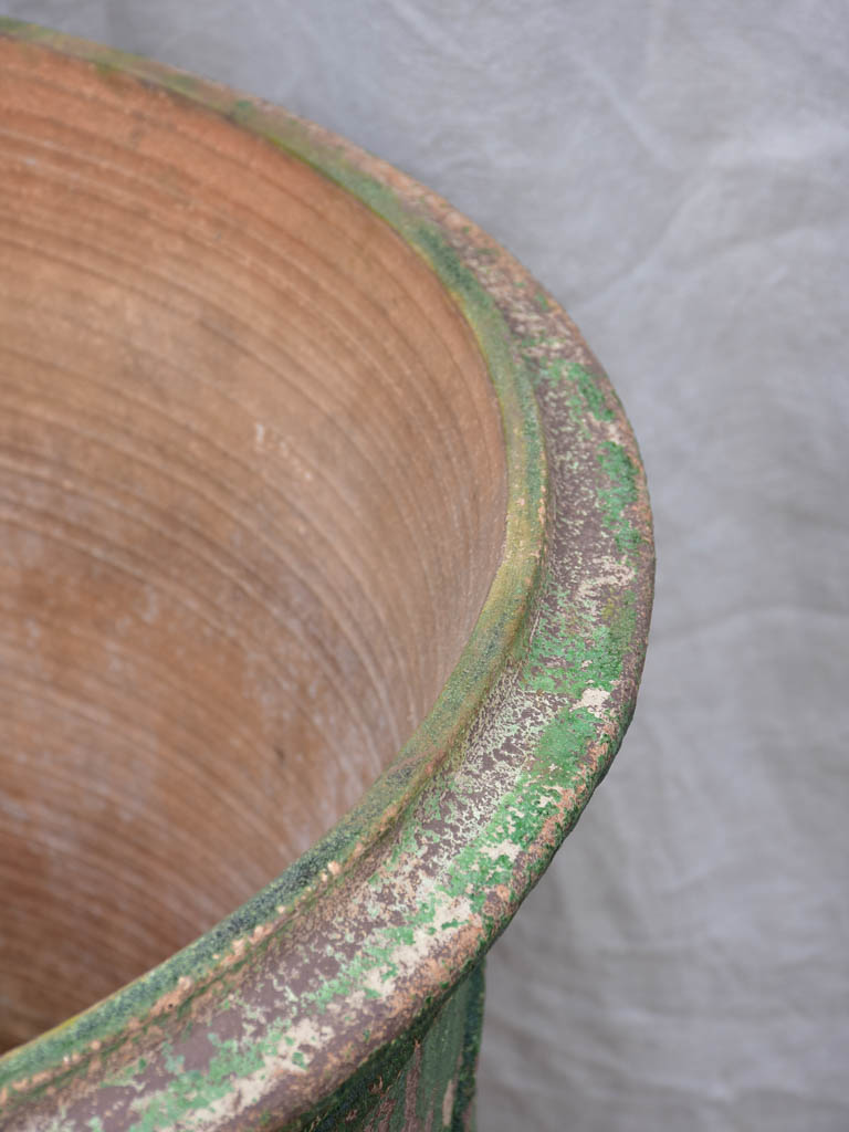 Very large vintage Anduze urn with weathered green glaze 31½""