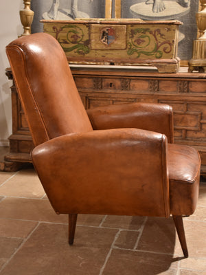 French leather club chair – 1960's with tapered legs
