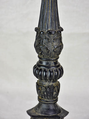 Antique candlestick with black paint finish 15¼""