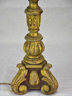 Large antique French candlestick lamp base - brown and gold 25½""