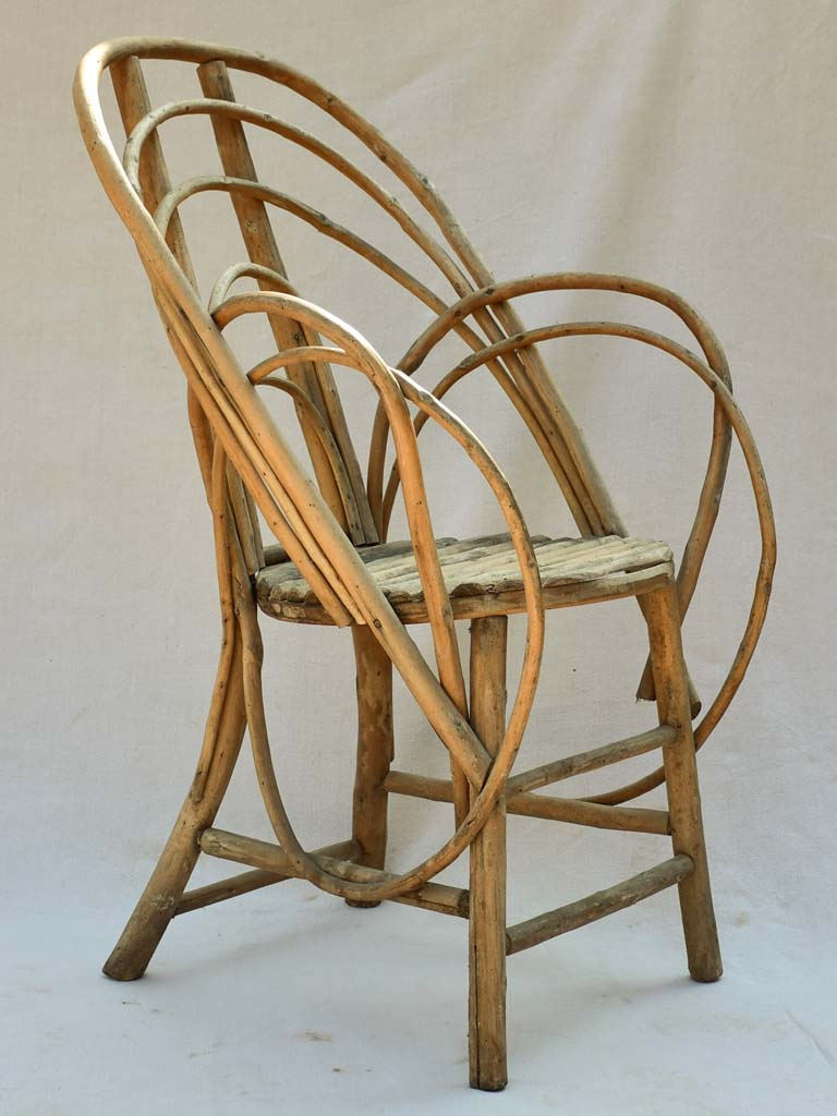 1920's French winter garden armchair - bent wood hazelnut