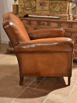 Vintage French leather club chair – chapeau gendarme