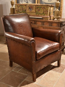 1940's French leather club chair – square