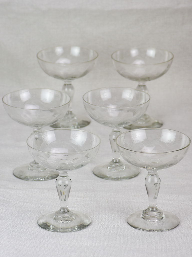 Set of six demi-crystal mid century French champagne cups