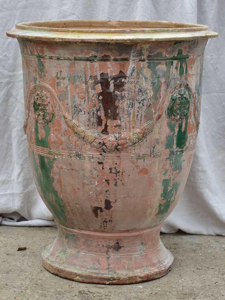 Very large antique terracotta Anduze urn - flame glaze 33½""