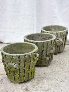 Three antique French faux bois flower pots with feet