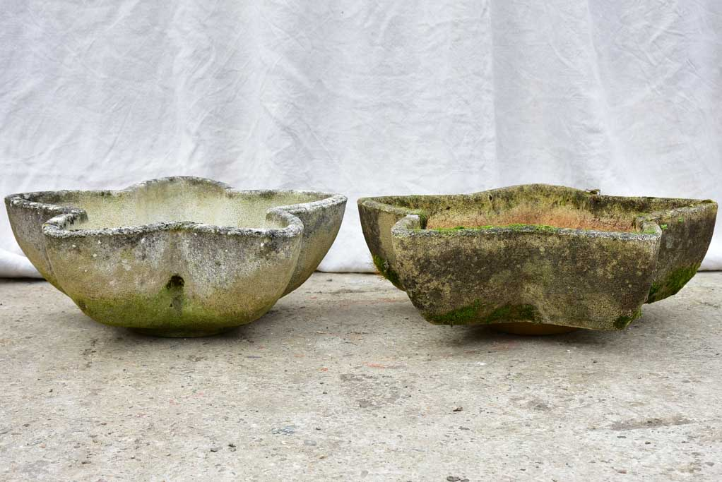 Two mid-century star-shaped garden planters - reconstituted stone