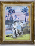 Antique water colour painting - oriental scene