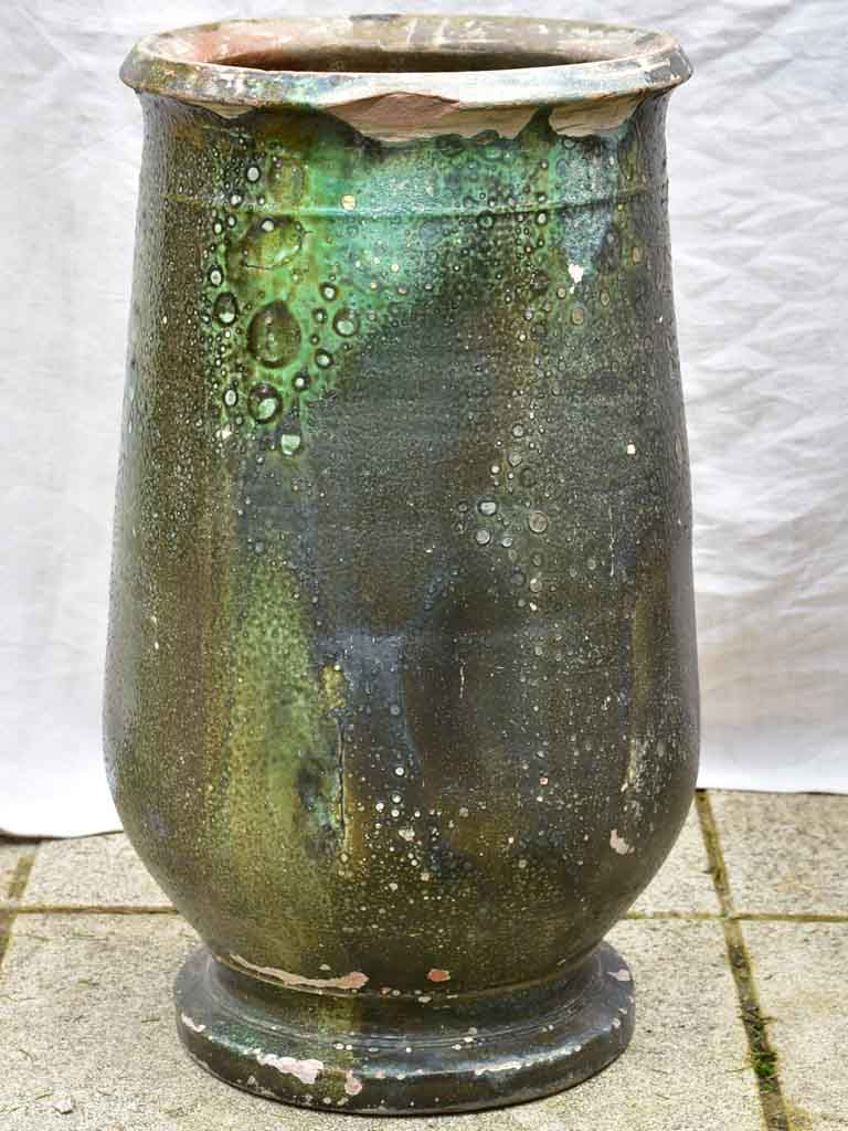 19th Century Anduze olive jar with green glaze 25¼""