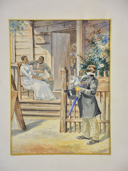 19th century Duportail painting - porch scene